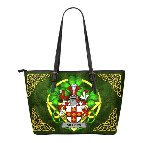 Irish Handbags, Villiers Family Crest Handbags Celtic Shamrock Tote Bag Small Size A7