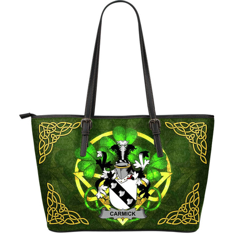 Irish Handbags, Carmick Family Crest Handbags Celtic Shamrock Tote Bag Large Size A7
