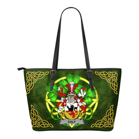 Irish Handbags, Daly or O'Daly Family Crest Handbags Celtic Shamrock Tote Bag Small Size A7