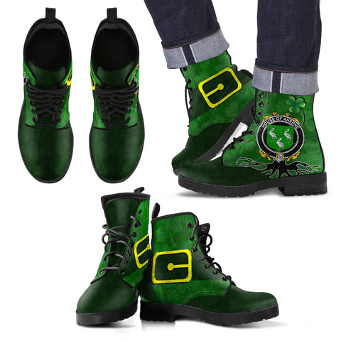 Image of Irish Boots, Aherne or Mulhern Family Crest Shamrock Leather Boots