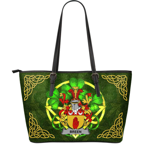 Irish Handbags, Breen or O'Breen Family Crest Handbags Celtic Shamrock Tote Bag Large Size A7