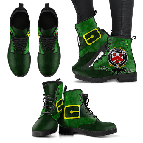 Image of Irish Boots, Agnew Family Crest Shamrock Leather Boots