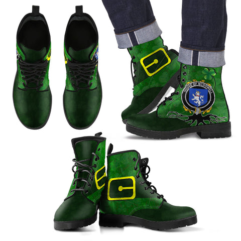 Irish Boots, McDowell Family Crest Shamrock Leather Boots
