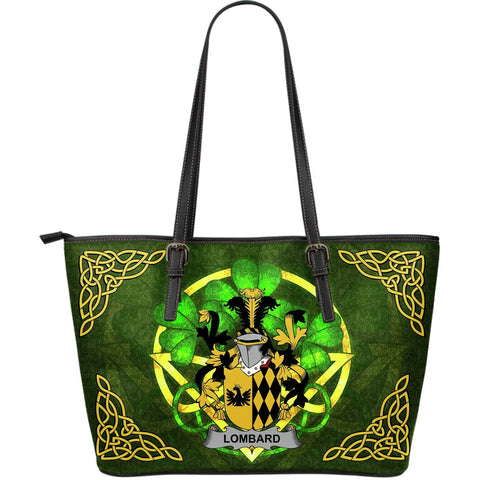 Irish Handbags, Lombard Family Crest Handbags Celtic Shamrock Tote Bag Large Size A7