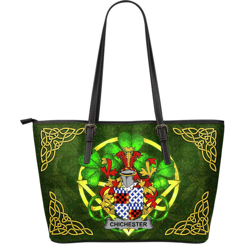Irish Handbags, Chichester Family Crest Handbags Celtic Shamrock Tote Bag Large Size A7