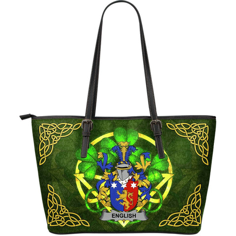 Irish Handbags, English Family Crest Handbags Celtic Shamrock Tote Bag Large Size A7