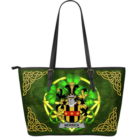 Irish Handbags, Merrick or Meyrick Family Crest Handbags Celtic Shamrock Tote Bag Large Size A7