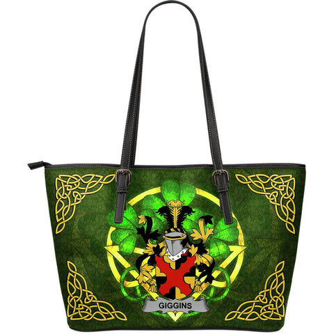 Irish Handbags, Giggins Family Crest Handbags Celtic Shamrock Tote Bag Large Size A7