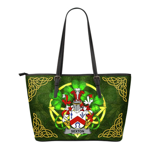 Irish Handbags, Sexton Family Crest Handbags Celtic Shamrock Tote Bag Small Size A7