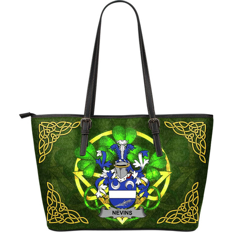 Irish Handbags, Nevins or McNevins Family Crest Handbags Celtic Shamrock Tote Bag Large Size A7