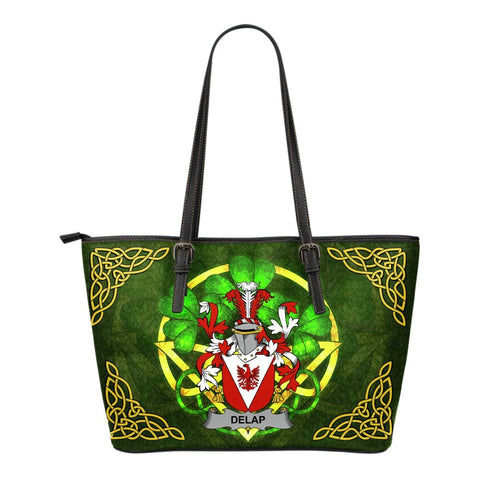 Irish Handbags, Delap Family Crest Handbags Celtic Shamrock Tote Bag Small Size A7