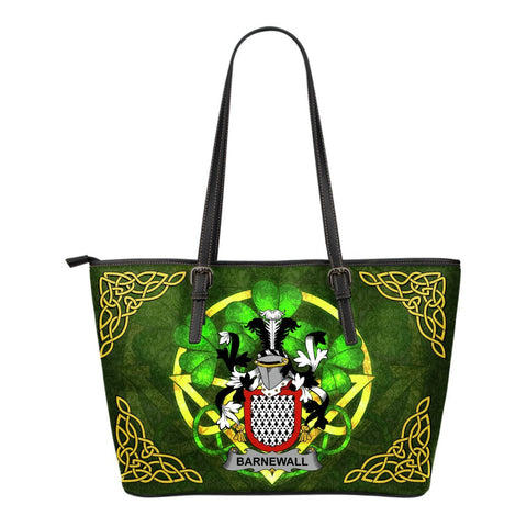 Irish Handbags, Barnewall Family Crest Handbags Celtic Shamrock Tote Bag Small Size A7