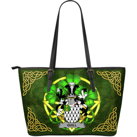 Irish Handbags, Quill Family Crest Handbags Celtic Shamrock Tote Bag Large Size A7