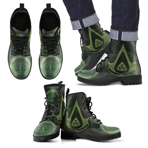 Image of cool celtic assassin symbols neon style leather boots