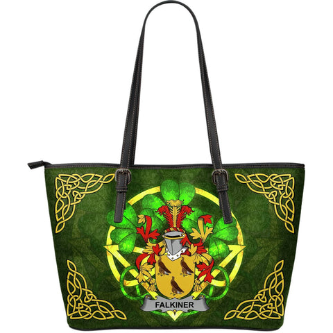 Irish Handbags, Falkiner Family Crest Handbags Celtic Shamrock Tote Bag Large Size A7