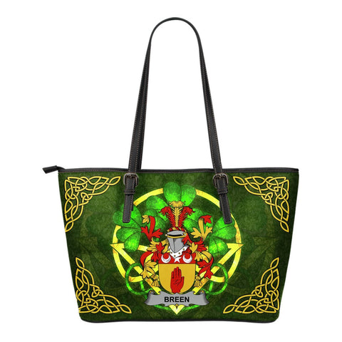 Irish Handbags, Breen or O'Breen Family Crest Handbags Celtic Shamrock Tote Bag Small Size A7
