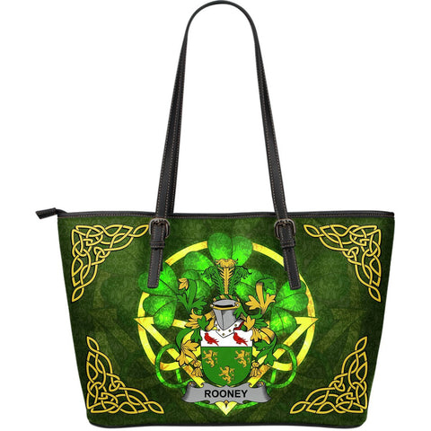 Irish Handbags, Rooney or  O'Rooney Family Crest Handbags Celtic Shamrock Tote Bag Large Size A7