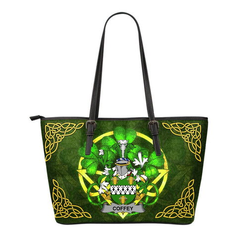 Irish Handbags, Coffey or O'Coffey Family Crest Handbags Celtic Shamrock Tote Bag Small Size A7