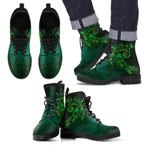 Image of Shamrock Pattern Skillful Garden Leather Boots