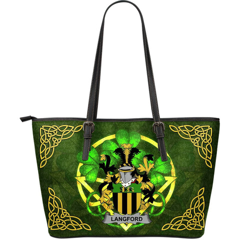 Irish Handbags, Langford Family Crest Handbags Celtic Shamrock Tote Bag Large Size A7