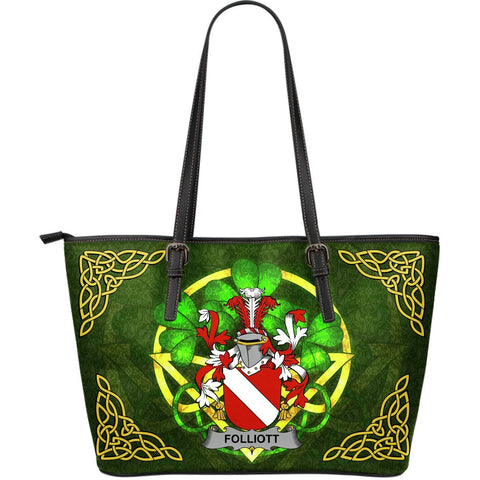 Irish Handbags, Folliott Family Crest Handbags Celtic Shamrock Tote Bag Large Size A7