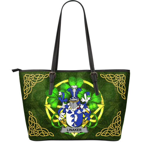 Irish Handbags, Linaker Family Crest Handbags Celtic Shamrock Tote Bag Large Size A7