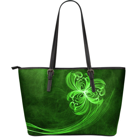 Abstract Shamrock Leather Tote Bag A2
