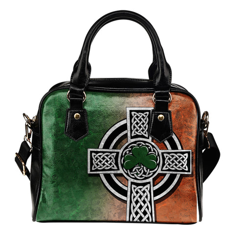 Irish Shamrock Shoulder Handbag, Celtic Cross K4