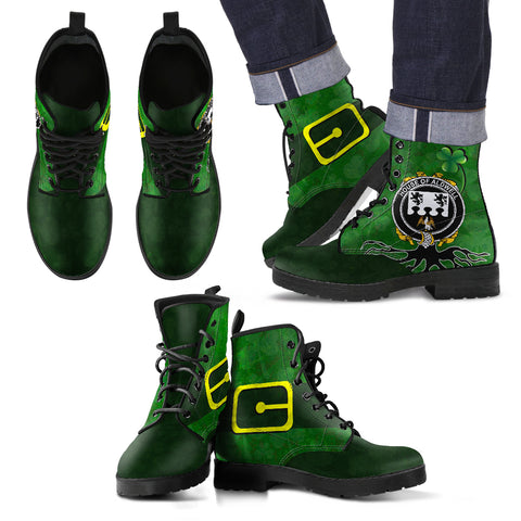 Irish Boots, Aldwell Family Crest Shamrock Leather Boots