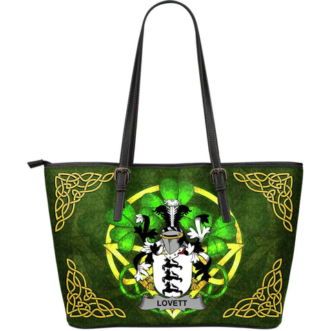 Irish Handbags, Lovett Family Crest Handbags Celtic Shamrock Tote Bag Large Size A7