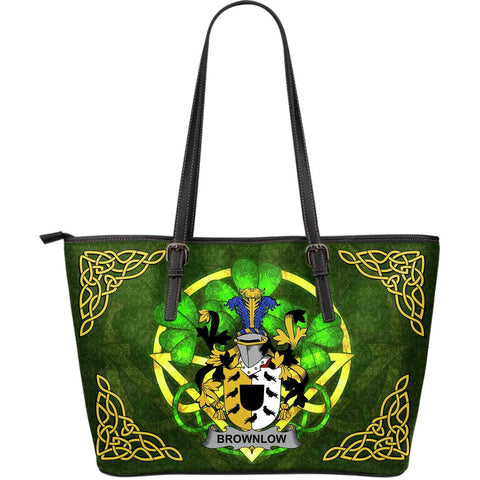 Irish Handbags, Brownlow Family Crest Handbags Celtic Shamrock Tote Bag Large Size A7