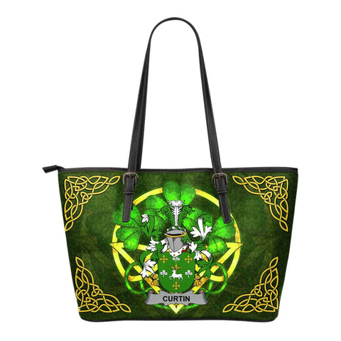 Irish Handbags, Curtin or McCurtin Family Crest Handbags Celtic Shamrock Tote Bag Small Size A7
