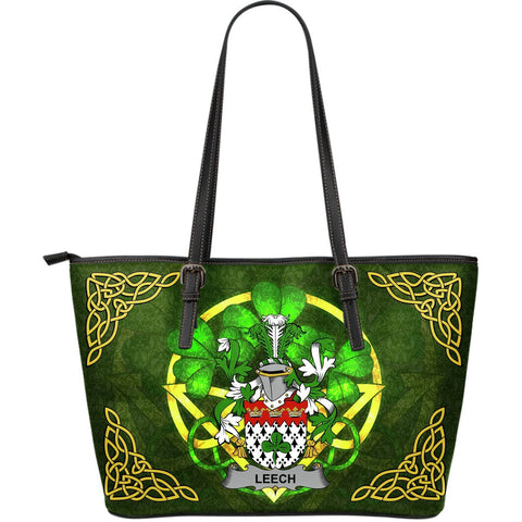 Irish Handbags, Leech Family Crest Handbags Celtic Shamrock Tote Bag Large Size A7