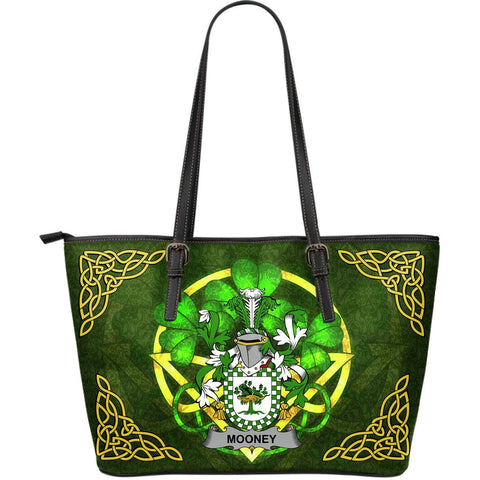 Irish Handbags, Mooney or O'Mooney Family Crest Handbags Celtic Shamrock Tote Bag Large Size A7