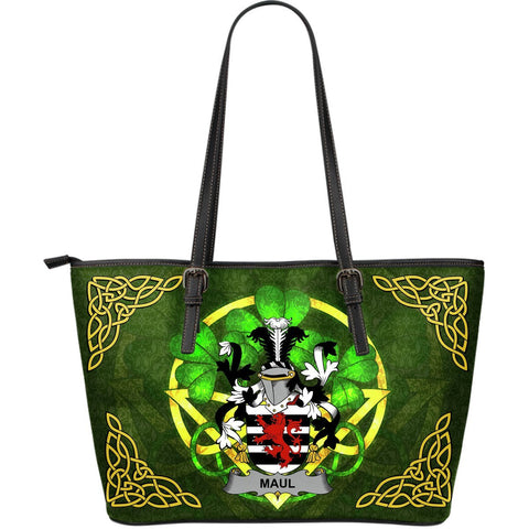 Irish Handbags, Maul or Maule Family Crest Handbags Celtic Shamrock Tote Bag Large Size A7