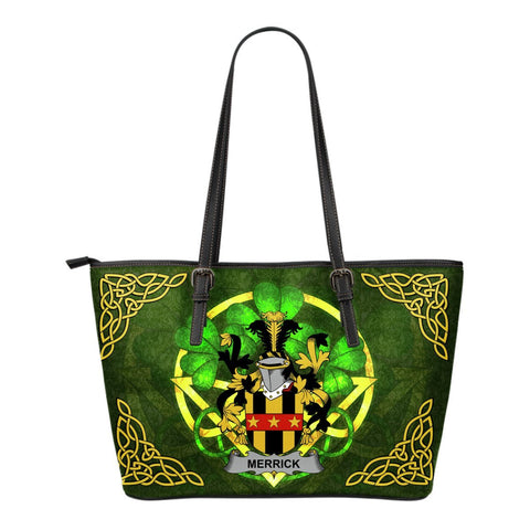 Irish Handbags, Merrick or Meyrick Family Crest Handbags Celtic Shamrock Tote Bag Small Size A7