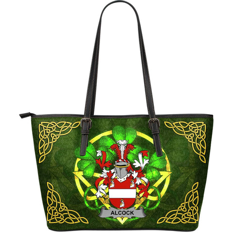 Irish Handbags, Alcock Family Crest Handbags Celtic Shamrock Tote Bag Large Size A7
