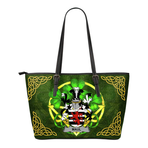 Irish Handbags, Maul or Maule Family Crest Handbags Celtic Shamrock Tote Bag Small Size A7