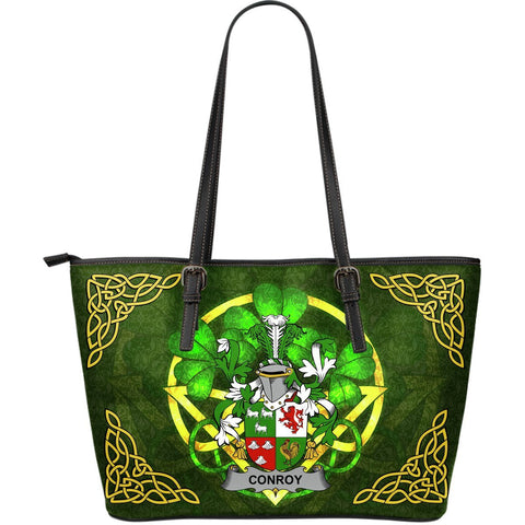 Irish Handbags, Conroy or O'Conry Family Crest Handbags Celtic Shamrock Tote Bag Large Size A7