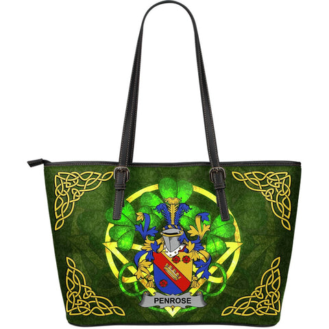 Irish Handbags, Penrose Family Crest Handbags Celtic Shamrock Tote Bag Large Size A7