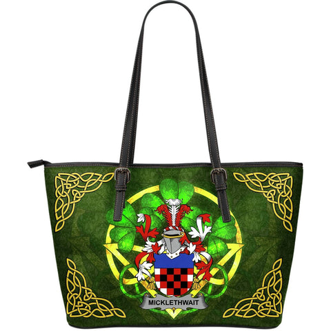 Irish Handbags, Micklethwait Family Crest Handbags Celtic Shamrock Tote Bag Large Size A7