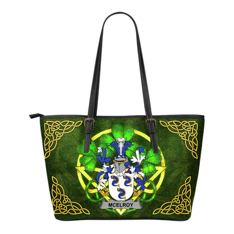 Irish Handbags, McElroy or Gilroy Family Crest Handbags Celtic Shamrock Tote Bag Small Size A7