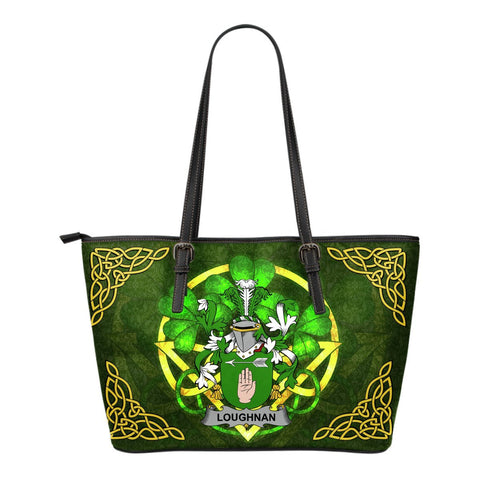 Irish Handbags, Loughnan or O'Loughnan Family Crest Handbags Celtic Shamrock Tote Bag Small Size A7