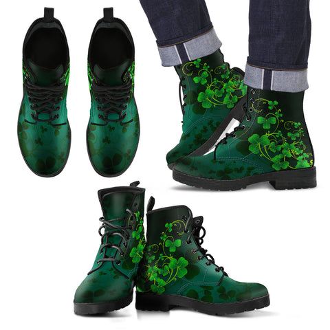 Shamrock Skillful Pattern Leather Boots
