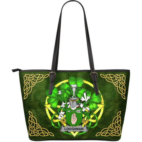 Irish Handbags, Loughnan or O'Loughnan Family Crest Handbags Celtic Shamrock Tote Bag Large Size A7