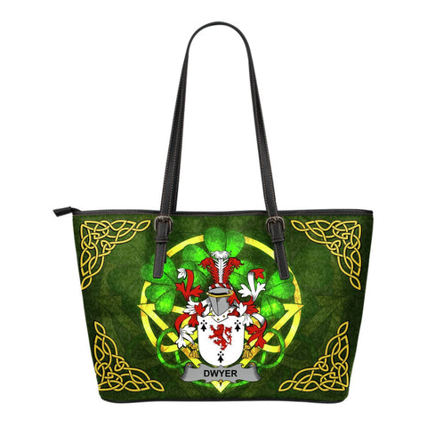 Irish Handbags, Dwyer or O'Dwyer Family Crest Handbags Celtic Shamrock Tote Bag Small Size A7