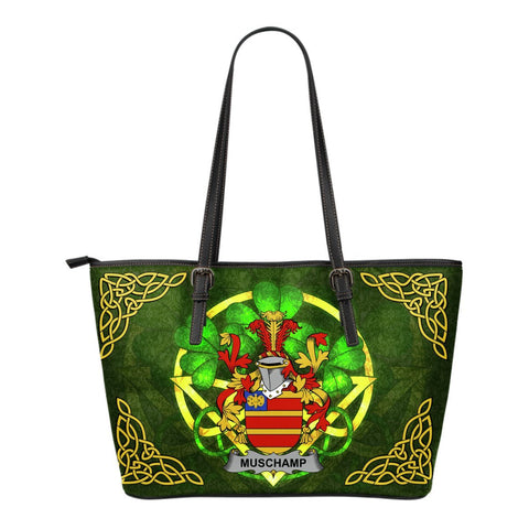 Irish Handbags, Muschamp Family Crest Handbags Celtic Shamrock Tote Bag Small Size A7