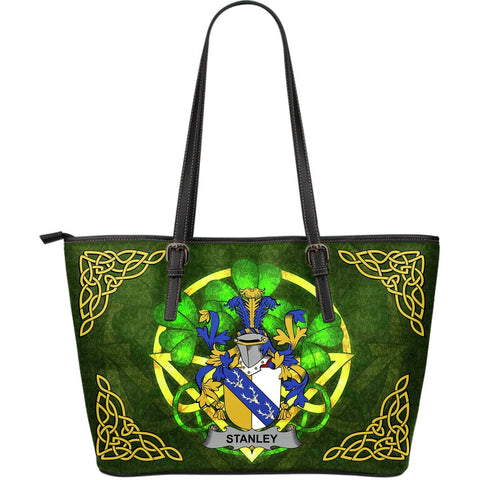 Irish Handbags, Stanley Family Crest Handbags Celtic Shamrock Tote Bag Large Size A7