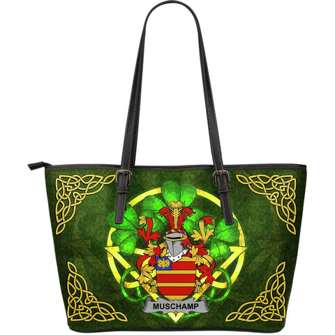 Irish Handbags, Muschamp Family Crest Handbags Celtic Shamrock Tote Bag Large Size A7