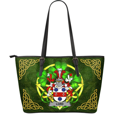 Irish Handbags, Lord Family Crest Handbags Celtic Shamrock Tote Bag Large Size A7